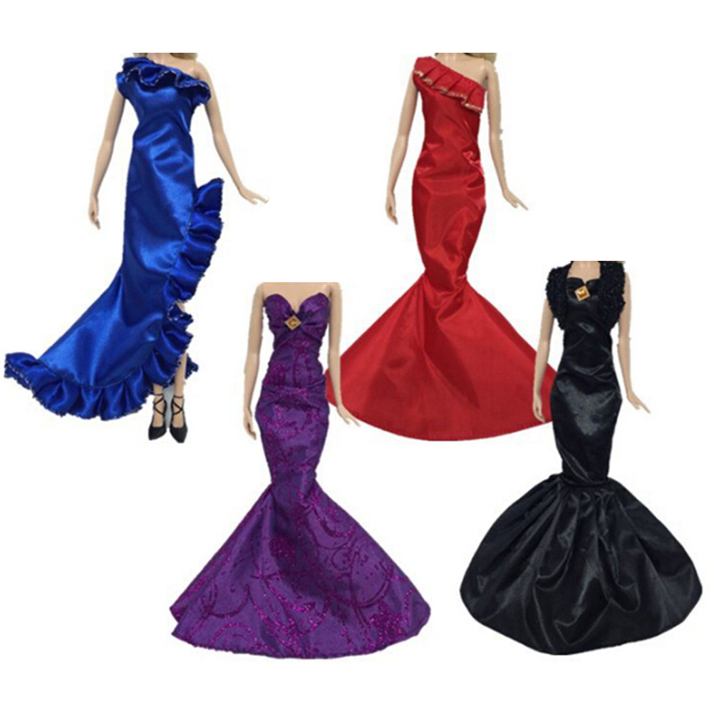One Piece Mermaid Tail Doll Dress For Doll Clothes Evening Dresses Party Gown 1/6 Doll Accessories