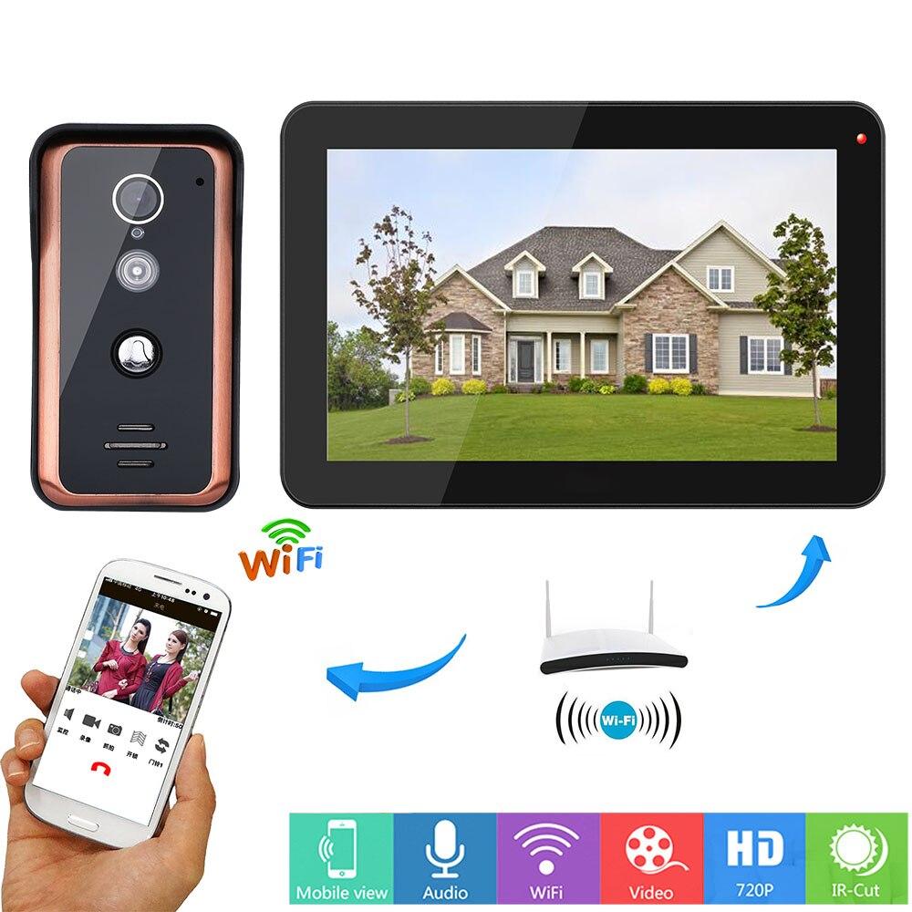 One 9 inch Monitor One 1000TVL Camera IR CUT Night Vision Wired Wifi Video Door Phone Doorbell Intercom Entry System APP unlock