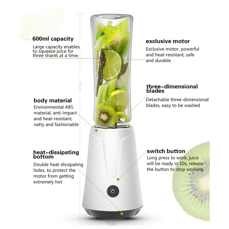 600ML Portable Electric Juicer Blender Fruit Baby Food Milkshake Mixer Meat Grinder Multifunction Juice Maker Machine DIY Drop