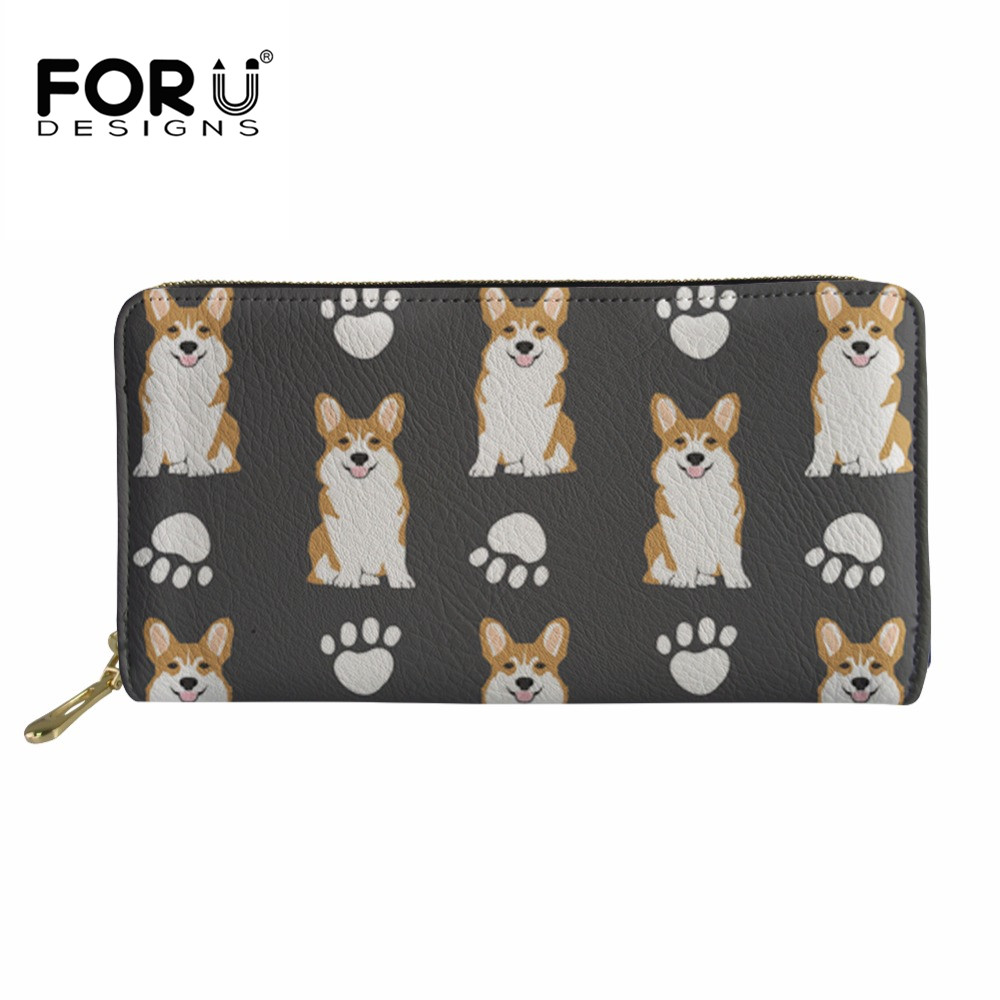 Buy FORUDESIGNS Lovely Corgi Print Pu Leather Wallet Female Long Purse Card Holder Zipper Coin Purse Ladies Wallets For Women New for $13.42 in AliExpress store