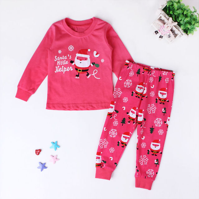 2015 Christmas Santa print Cartoon PINK Sleepwear Kids Boys Girls clothing set Cotton Nightwear Pj's Pajamas 2pcs