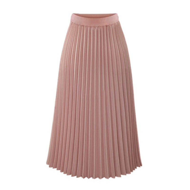 2019 New Spring and Summer Chiffon Women Long Skirt Sweet Solid Pleated Mid-Calf Elastic Waist Empire Slim Half-length Skirt Price $22.79