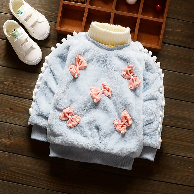 2017 Girls Knitted Sweaters Girls Clothing Children Tops Thicken warm bowknot pearls Long Sleeve Kids Sweaters O-neck Cadigan