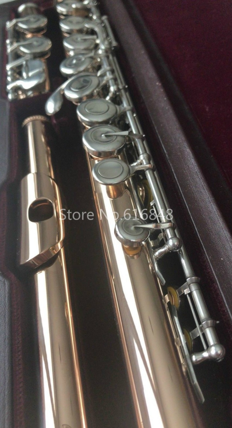 Gold Lacquer High Quality Muramatsu Flute 16 Keys Closed Holes Brand New Arrival Musical Instrument Flute With Case