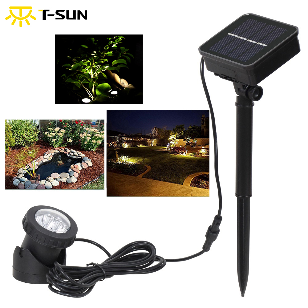T-SUN Solar Spotlights 6 LED IP68 Underwater Projection Lights Outdoor Garden Pond Lighting For Garden Fountain Pond And Patio