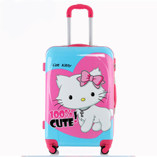 KUNDUI ABS+PC Trolley Case spinner wheels women Cartoon Cat Box girl Travel bags boy Suitcase traveller Luggage Pull Rod trunk