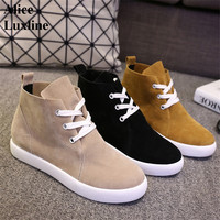 2016 Autumn Ladies Sweet Round Toe Flat Shoes Martin Boots Lace Up Women Casual Shoes Brown