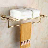 Antique Round Base Golden Chrome towel rack Brass Plated Antique Bathroom Wall Mount Bathroom hardware hanging wl90