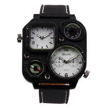 Luxury Oulm Men Military Army Dual Time Leather Analog Quartz Sports Wrist Watch