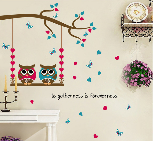 % DIY Butterfly tree Animal owl Wall Sticker For Kids Room Window Glass TV Background Wall Decals Home Bedroom Decor Art Poster