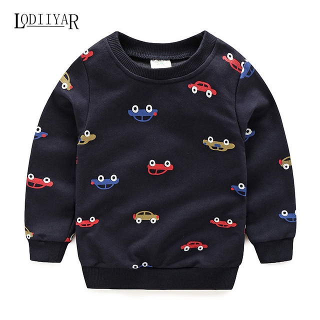 Boy Clothes 2017, Cotton Outerwear Pullover Long Sleeve Kids Boy Clothes, Cotton Casual Car Pattern Autumn Spring Winter T-shirt