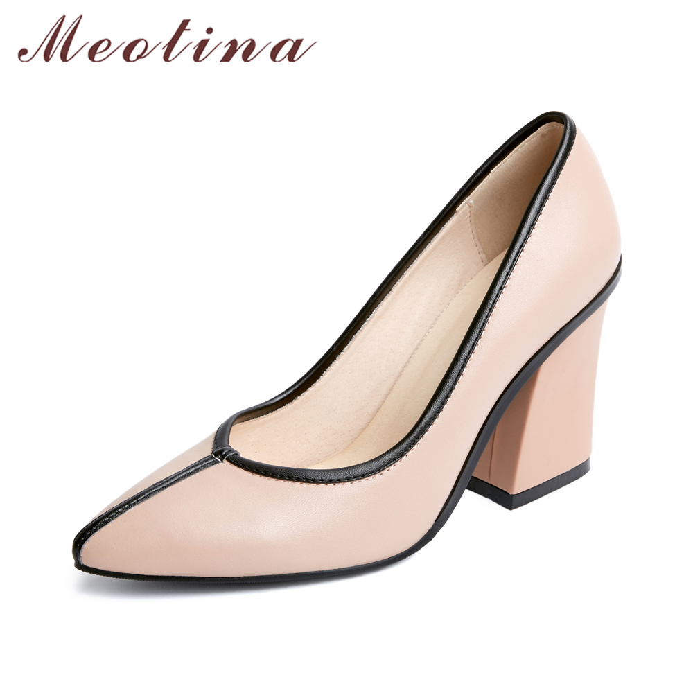 Meotina Genuine Leather Shoes Women Pumps High Heels Pointed Toe Thick Office Pumps Real Leather Shoes Pink Black Large Size 42