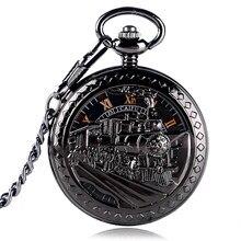 Esqueleto Relógio de Bolso Dos Homens Que Executam Vapor Ferroviária Trem  Relógio de Bolso Mulheres Locomotiva Mão Mecânica Wind. 39df323535