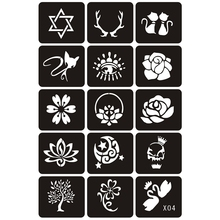 15pcs Small Tattoo Stencils Woman Girl Kids Drawing Template,Flower Cat Eye Cartoon Glitter Airbrush Tattoo Stencil 6×4.8cm X4