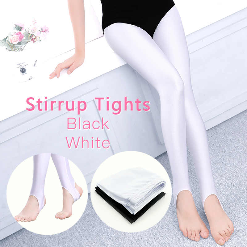 8c5c503e4b37b3 Child Ballet Dance Stirrup Leggings High Elastic Girls Women Pantyhose Black  White Spandex Ballet Tights Thin