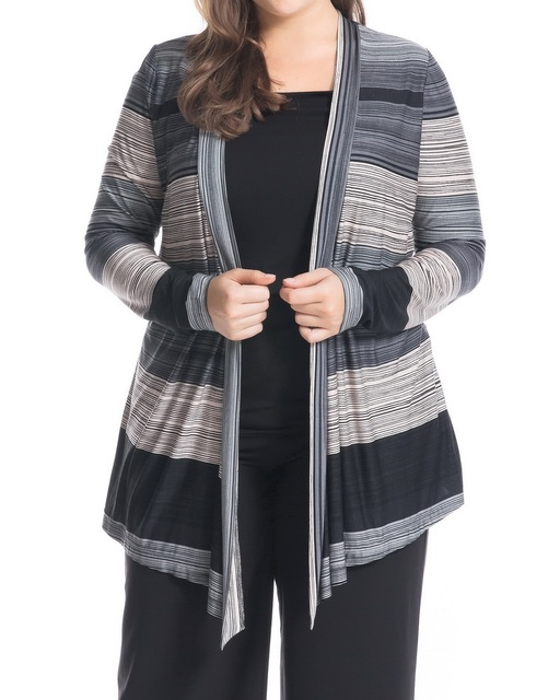 Chicwe Women s Plus Size Twofer Top Blouse with Stripe Printed Waterfall  Front Large Size Big Size 5b5a3a06c7ce