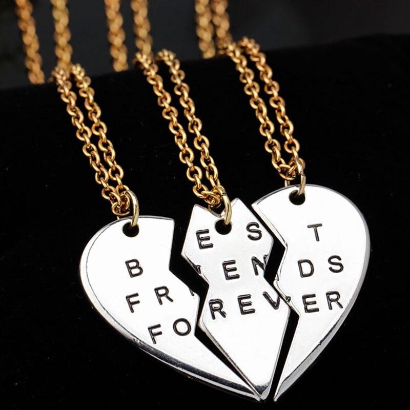 New Collier Choker Necklace Heart Pendant Pieces Broken Three Best