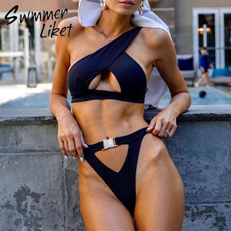 High Cut Brazilian Swimsuit Female One Shoulder Swimwear Women Bathers Sexy Thong Bikini 2019 New Buckle Bathing Suit Beach Wear