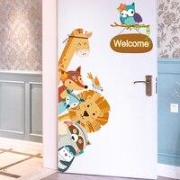 [SHIJUEHEZI] Cartoon Dieren Muurstickers DIY Kinderen Mural Decals voor Kinderen Kamers Baby Slaapkamer Garderobe Deur Decoratie