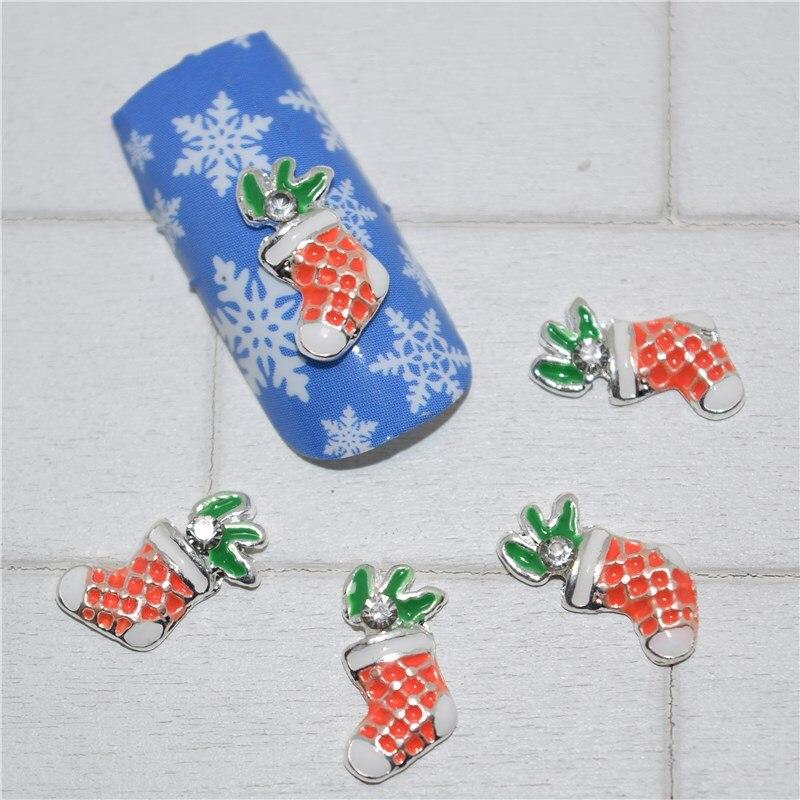 10psc New Christmas socks 3D Nail Art Decorations,Alloy Nail Charms,Nails Rhinestones  Nail Supplies #251