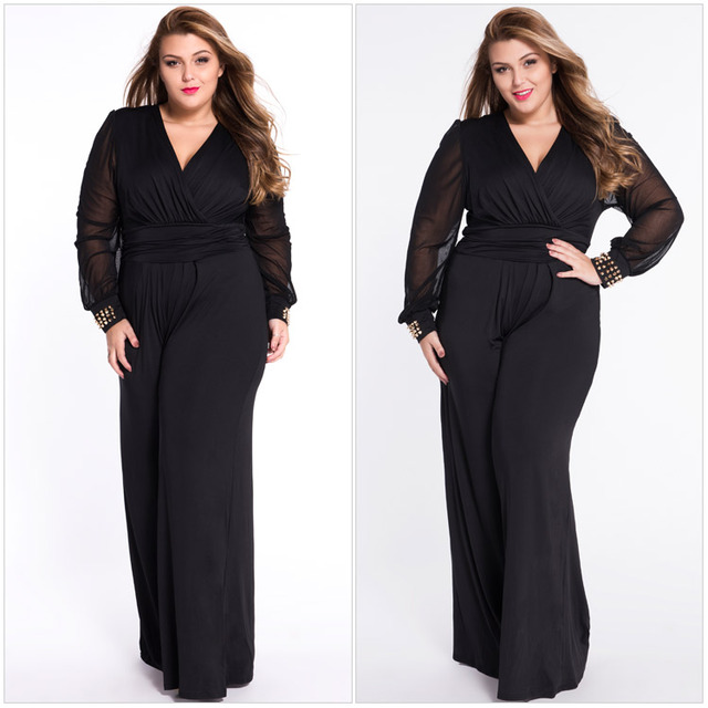 New Women Plus Size Fashion V-Neck Jumpsuits Elegant Embellished Cuffs Long Mesh Sleeves Wide Leg Romper Jumpsuit All Sizes