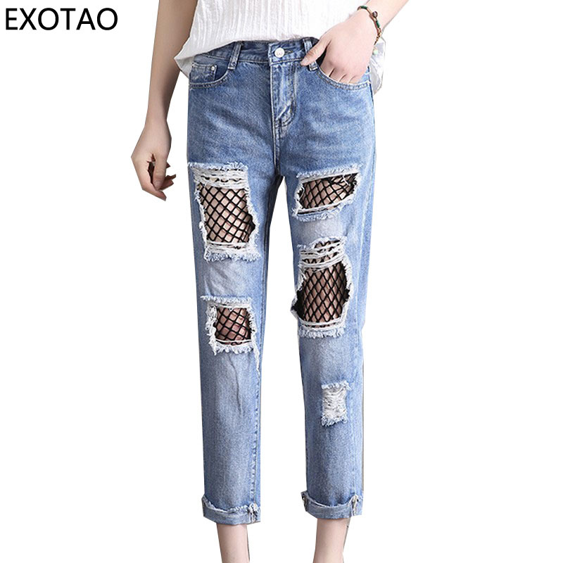 EXOTAO Hollow out Mesh Denim Pants for Women Plus Size High Waist Jeans Female Streetwear Ripped Vaqueros Ankle-Length Pantalon gothic gridding hollow out women s waist slimming corset