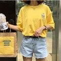 Ulzzang harajuku shirt mujeres tops verano 2017 coreano lindo japón kawaii rock plátano botella bordado mejor amigo camiseta de las mujeres