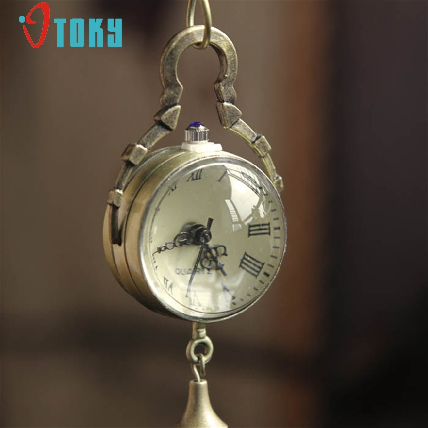 OTOKY Vintage Bronze Quartz Ball Glass Pocket Watch Necklace Chain Steampunk for women #40 Gift 1 pcs bronze quartz pocket watch old antique superman design high quality with necklace chain for gift item free shipping