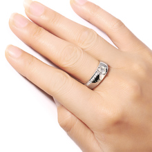 Free shipping 0.5 Ct F Color Moissanite Ring 14K white gold  Wedding Anniversary Ring with Genuine Diamond Accent Ring jewelry
