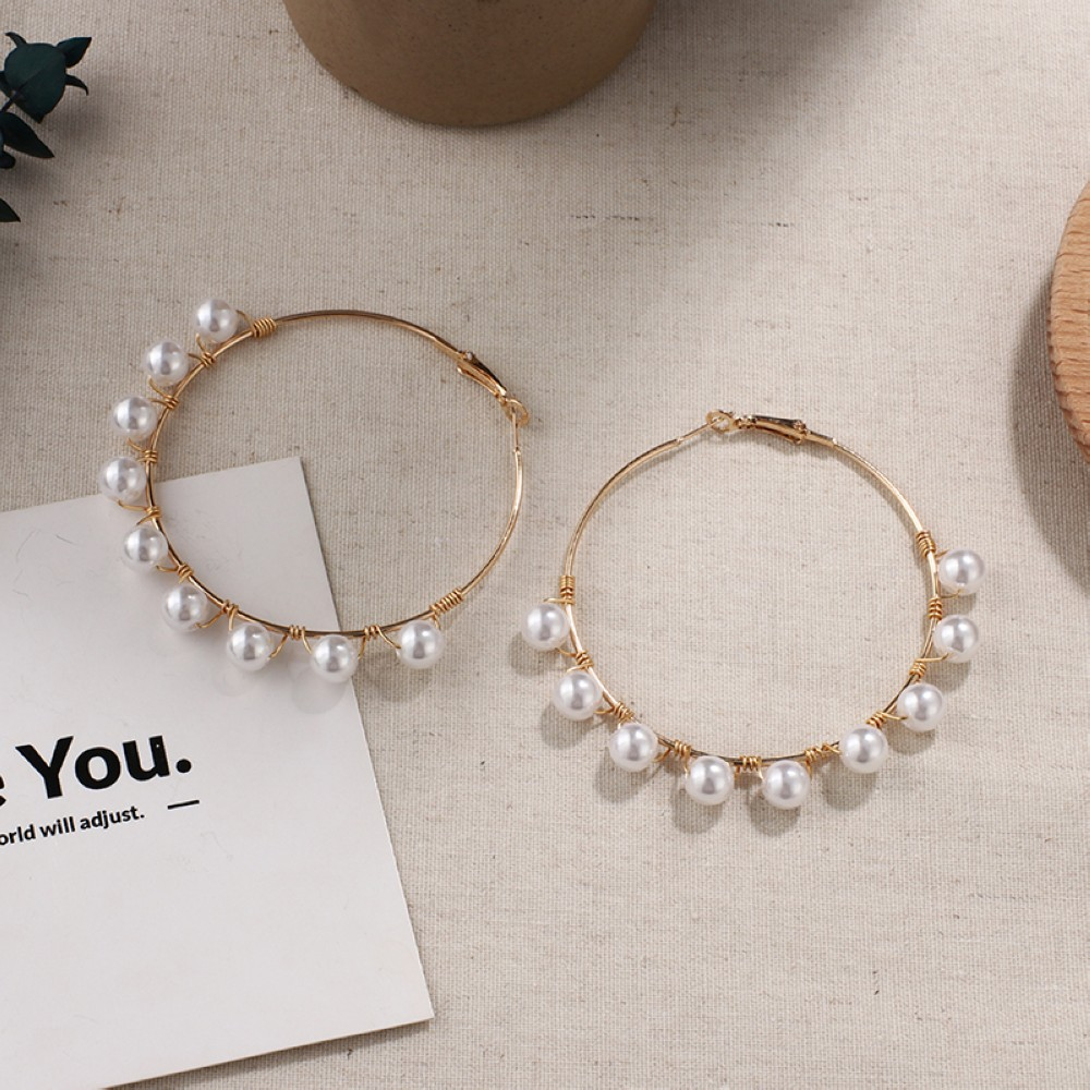 HTB1zDjlU4YaK1RjSZFnq6y80pXa6 - New Boho White Imitation Pearl Round Circle Hoop Earrings Women Gold Color Big Earings Korean Jewelry Brincos Statement Earrings