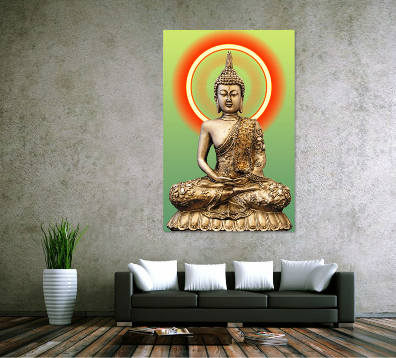 Hd print golden buddha painting picture living room wall for Buddha decorations for the home