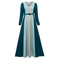 2018 New Female Autumn Maxi Dress Striped A Line V Neck Floor Length Dress Vintage Elegant
