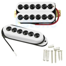 White Single Double Bridge Humbucker Guitar Pickup Set Hex Pole New