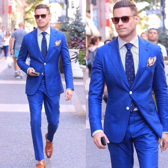 Aliexpresscom  Buy Classic Style Bright Blue Men Suits Slim Fit Two Buttons Notch Lapel Mens