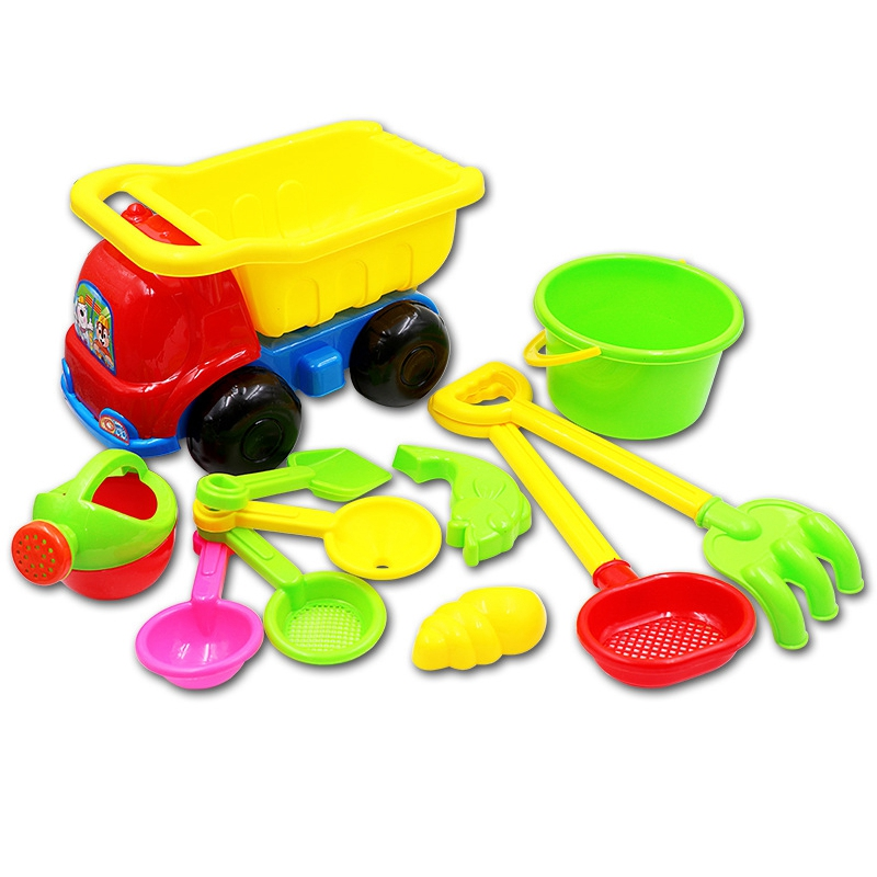 Children's Beach Toy Car 11 Piece Set Baby Sand Shovel Digging Sand Funnel Shower Summer Water Toy