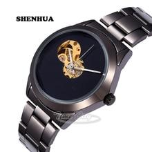 2016 Reloj Automático Hueco de Las Mujeres Simples Impermeables Unisex Viento Del Uno Mismo relojes Mecánicos Negro Correa de Acero Reloj Casual