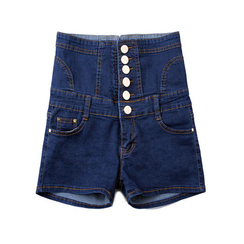 High Waist Denim Shorts For Women Summer Slim Button Bandage Women Jean Shorts Fashion Women Skinny Plus Size Blue Jeans Short