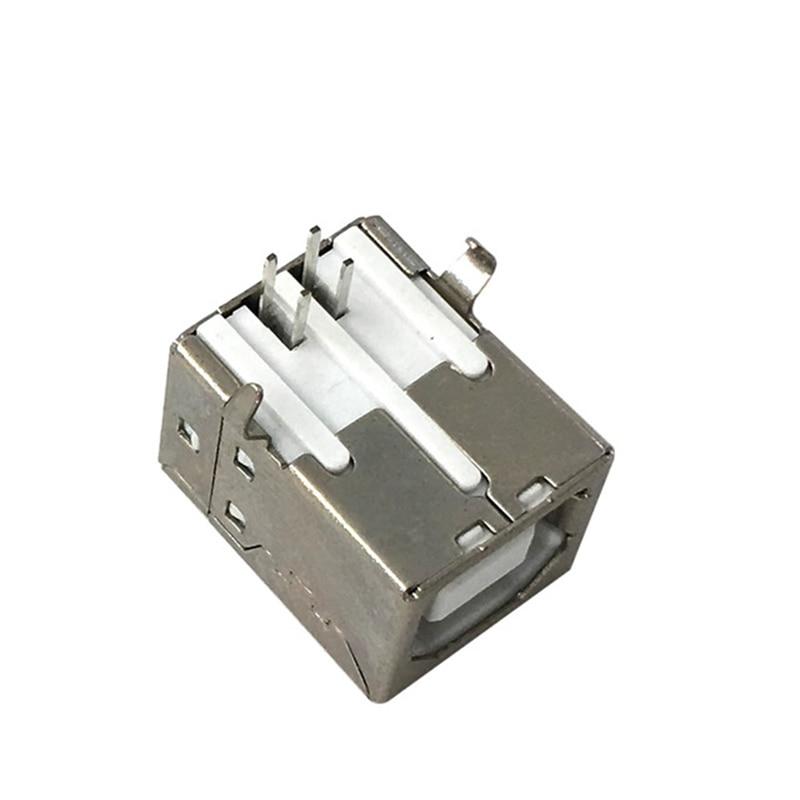10pcs Side Port USB B Type Female Socket Connector Emale 90 Degree Bend Pin Female For Printer Data Interface