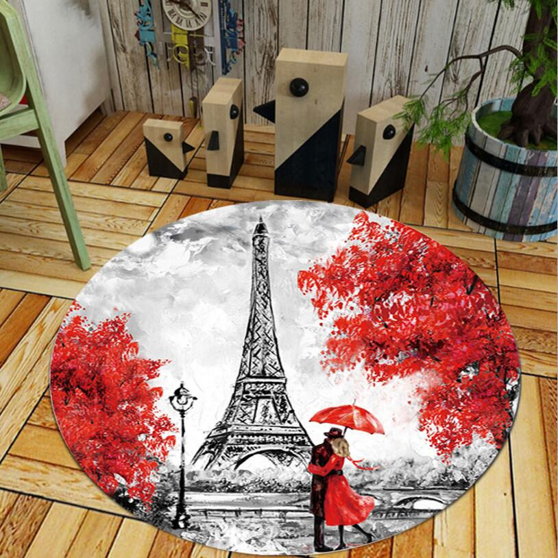 Tower Sweety scenery print Round Shape Living Room Carpet Bedroom Floor Mat Tea Table Rug Anti-skid Computer Chair Foot Pad