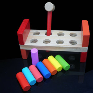 Free shipping colored wooden toys, Knocking pile platform, children's educational toys, driving pile abutment Kids toy