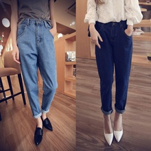 Women's Blue True Denim Pants High Waist Washed Light Boyfriend Jean Female For Women Jeans