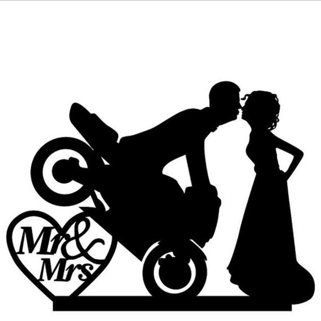 BrideGroom Custom Cool Motorcycle Wedding Cake Topper Anniversary Design Toppers Decoration