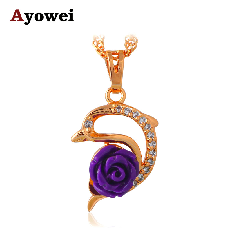 695d2200e New Hot Popular Purple Rose for Dream Gold tone Rose Language Fashion  Jewelry Zircon Necklaces & Pendants LN621A