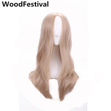 real picture fashion long wavy wig 60 cm heat resistant blonde synthetic wigs for women hair WoodFestival