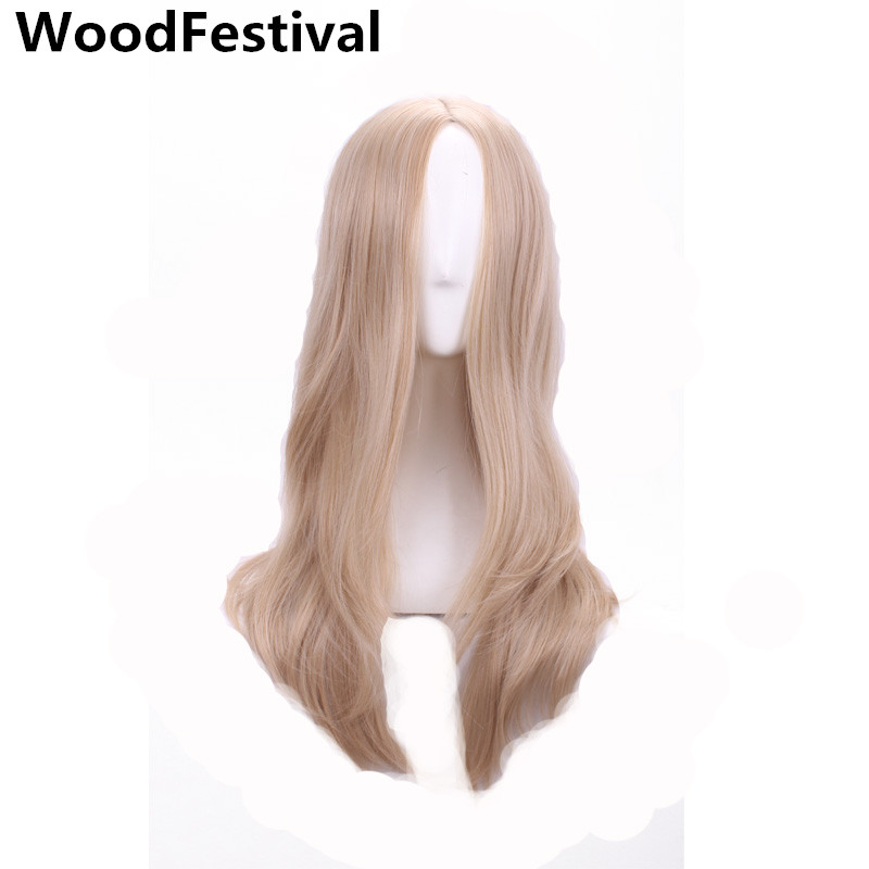 WoodFestival blonde long wavy wig 60 cm heat resistant cosplay synthetic wigs for women hair high