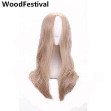 WoodFestival блондинка длинные волнистые парик 60 см жаропрочных косплей синтетические парики для женщин волосы высокая температура волокна настоящее аватар