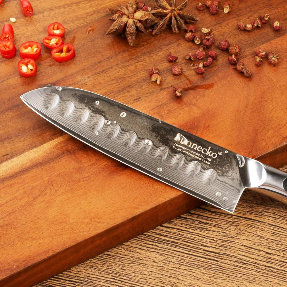 """SUNNECKO 5"""" Inch Santoku Knife Kitchen Chef Knives Japanese 73-Layers Damascus VG10 Steel Sharp Blade G10 Handle Cutting Tools"""