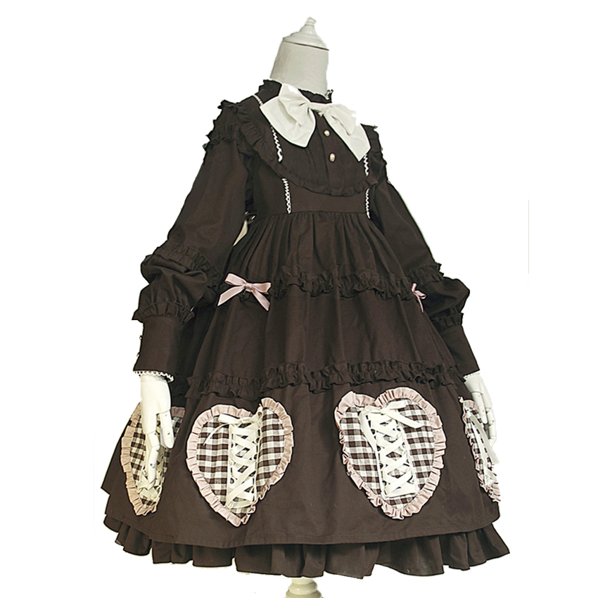 2018 Spring Dorothys-Doll Retro Party Dresses Peter Pan Collar Puff Sleeve Vintage Gothic Lolita Girl Dress Japanese Women Dress