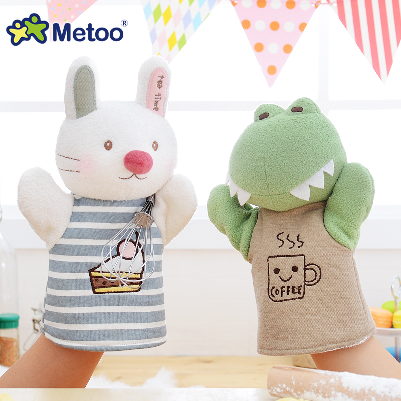 24cm Hand Puppets Kawaii Plush Cartoon Kids Toys for Girls Children Baby Birthday Christmas Gift Hand Finger Puppets Metoo Doll