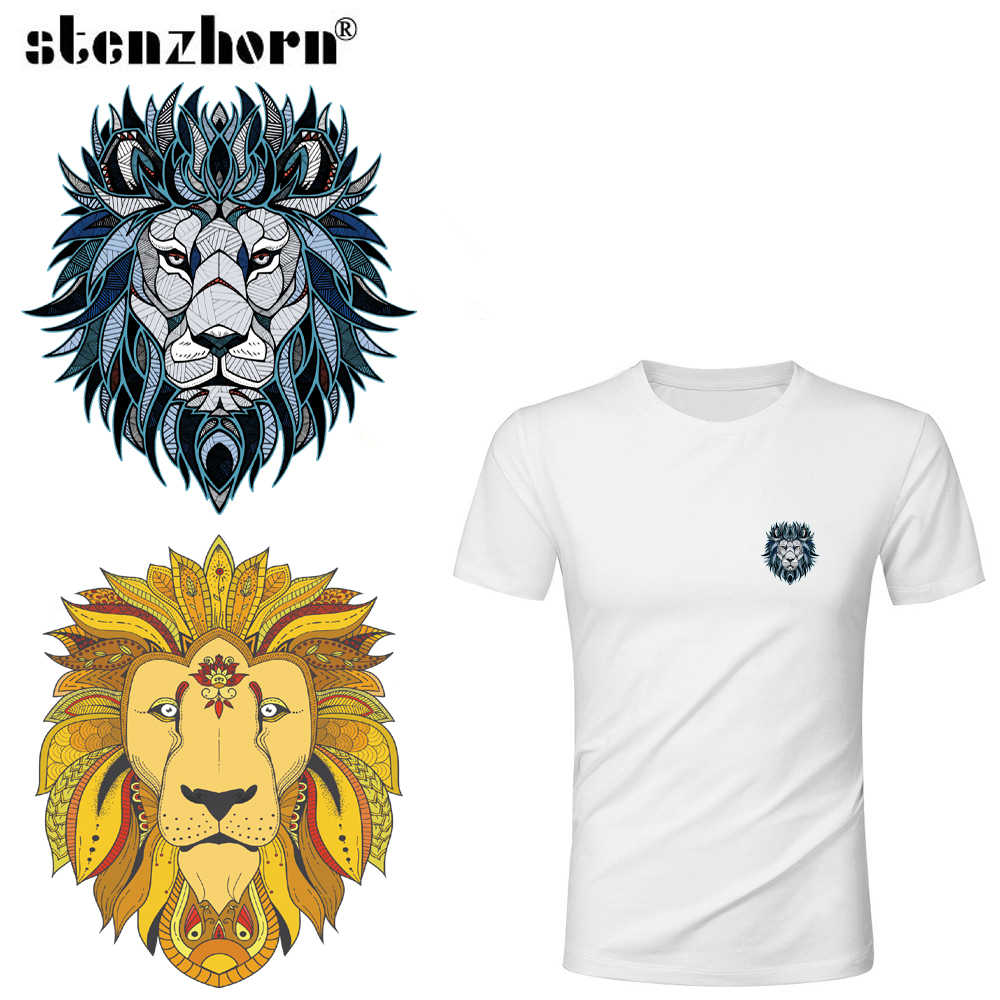 Tiger Dog Lion Animal badge Heat Transfer Stickers Washable Iron On Applique For T-shirt POLO DIY Clothes Decoration